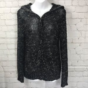 BCBGMaxazria Full Zip Hooded Loose Knit Sweater